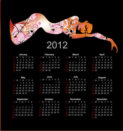 Calendar 2012 in style of a art. The nude girl. Vector