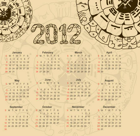 mayan prophecy: Calendar 2012 with maya symbolics  Illustration