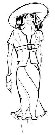 SKETCH. fashion girl. Hand-drawn fashion model. illustration. Vector