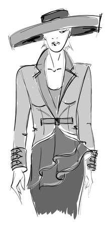 SKETCH. fashion girl. Hand-drawn fashion model. Vector illustration. Vector