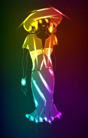 Hand-drawn fashion model from a neon. Vector illustration. A light girls Vector