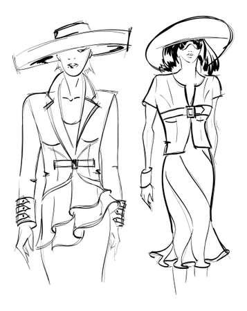 highfashion: SKETCH. fashion girl. Hand-drawn fashion model. Vector illustration. Illustration