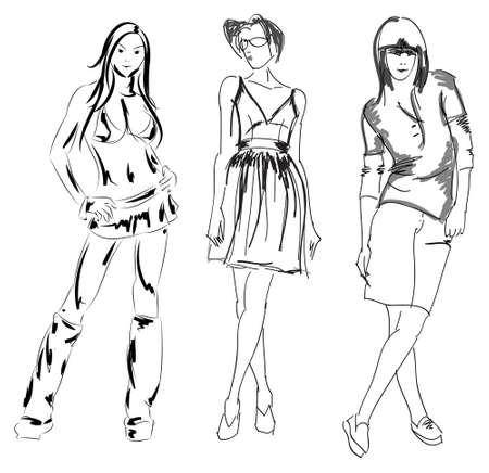 DIBUJO. chica de moda. Dibujado a mano el modelo de la moda. Ilustración del vector.