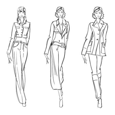 SKETCH. fashion girl. Hand-drawn fashion model. Vector illustration.  イラスト・ベクター素材