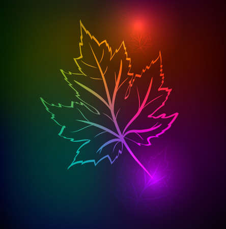 Autumn leaves of a maple. A neon background