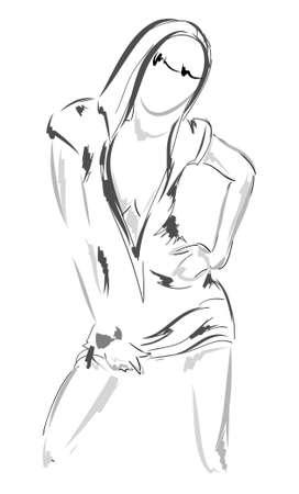CROQUIS. fashion girl. Tiré par la main de mannequin. illustration.