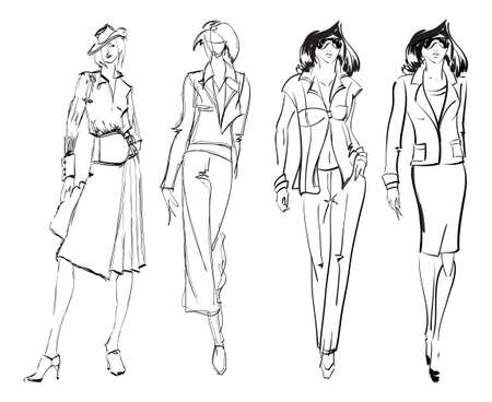 figurines: SKETCH. fashion girl. Hand-drawn fashion model. Vector illustration. Illustration