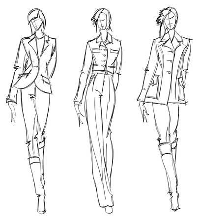 Sketch. mode meisje. Hand-drawn mannequin. Vector illustratie.