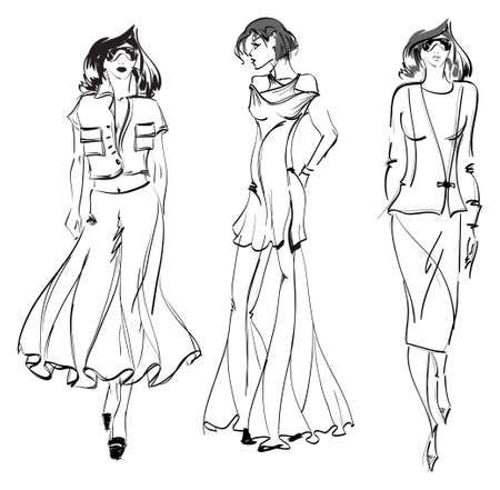 SKETCH. fashion girl. Hand-drawn fashion model. Vector illustration. 일러스트