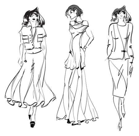 SKETCH. fashion girl. Hand-drawn fashion model. Vector illustration. Stock Illustratie