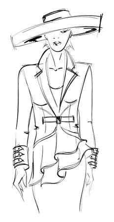 fille pull: CROQUIS. fashion girl. Tir� par la main de mannequin. illustration.