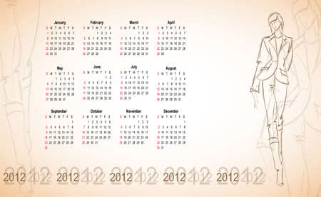 Calendar 2012 with the fashionable sketch of the girl.  Vector