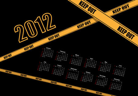 danger do not cross: Calendario de Dise�o 2012 Vectores