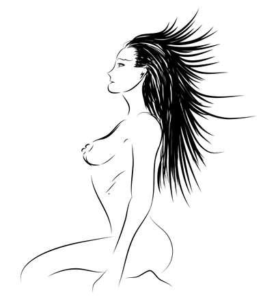 Sketch. Las mujeres desnudas Foto de archivo - 12485667