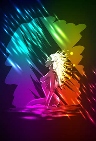 The neon nude woman, under a rain Stock Vector - 12488583