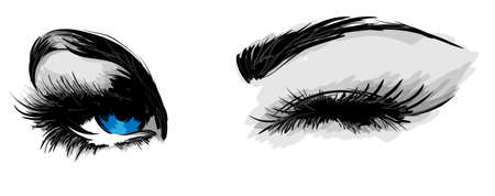 eyelashes: beautiful female eyes Illustration