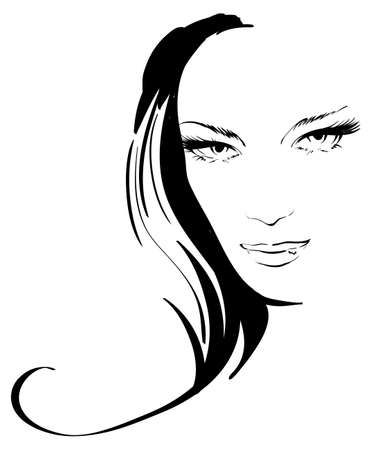 glamour model: beauty girl face Illustration