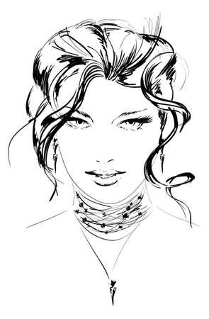 beauty girl face  イラスト・ベクター素材