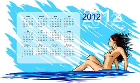 ni�a desnuda: Calendario 2012, el boceto de la chica desnuda.