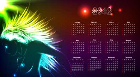 Calendar 2012, the sketch of the neon  girl. Vector