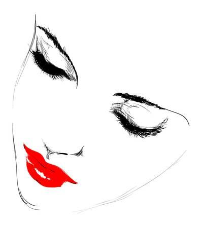 sketch: schoonheid meisje gezicht