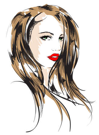 beauty girl face Stock Vector - 12486354