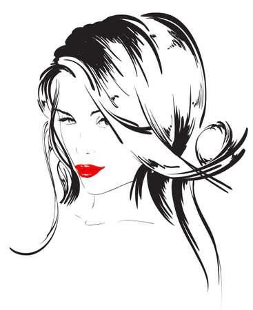 bocetos de personas: belleza cara chica