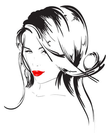 tatouage visage: visage de la fille de beaut� Illustration