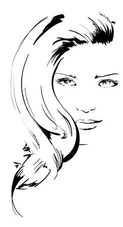 tattoo face: beauty girl face Illustration