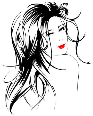 sexy glamour model: beauty girl face Illustration