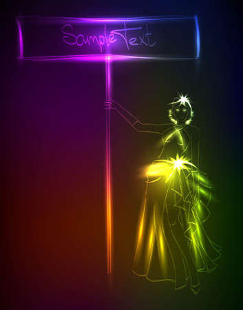 Hand-drawn fashion model from a neon. A light girl's Vector