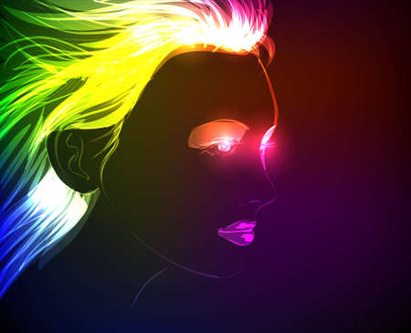 Hand-drawn fashion model from a neon. A light girls face. Vector