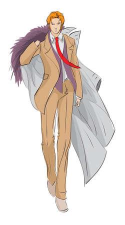 SKETCH. fashion girl. Hand-drawn fashion model Ilustração
