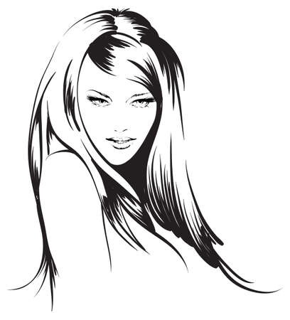 vogue style: beauty girl face Illustration