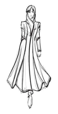 SKETCH. fashion girl. Hand-drawn fashion model Illustration