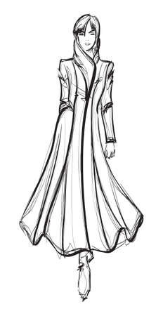 SKETCH. fashion girl. Hand-drawn fashion model Stock Illustratie