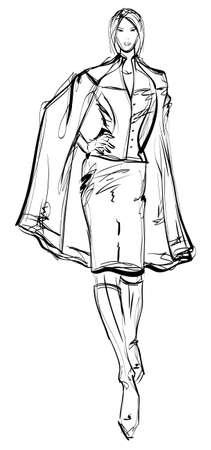 cardigan: SKETCH. fashion girl. Hand-drawn fashion model Illustration