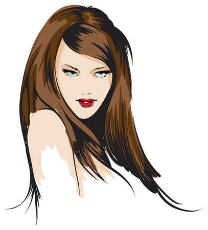 beauty girl face Illusztráció