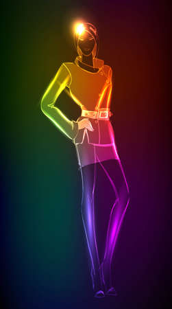 Hand-drawn fashion model from a neon. A light girls Vector