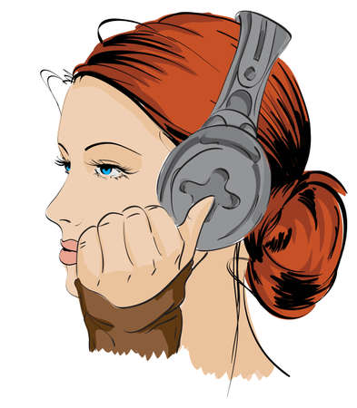 sexy headphones: The beautiful girl listening to music Illustration