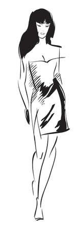 SKETCH. fashion girl. Hand-drawn fashion model Vector