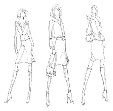 SKETCH. fashion girl. Hand-drawn fashion model 일러스트