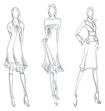 SKETCH. fashion girl. Hand-drawn fashion model Vectores