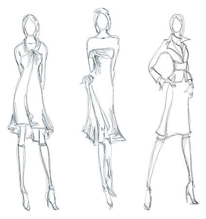modellini: SKETCH. moda ragazza. Disegnati a mano modello di moda Vettoriali
