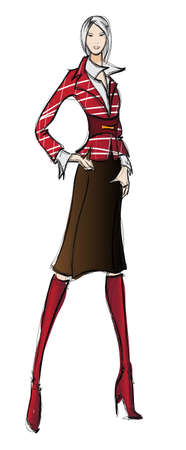 highfashion: SKETCH. fashion girl. Hand-drawn fashion model Illustration