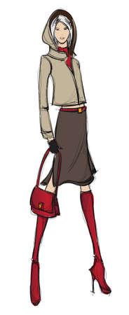 SKETCH. fashion girl. Hand-drawn fashion model  イラスト・ベクター素材