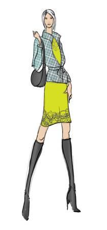 SKETCH. Mode-Mädchen. Hand gezeichnete Mode-Modell