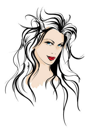 vogue: beauty girl face Illustration