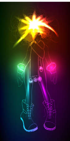 Hand-drawn fashion model from a neon  A light girl s Vector