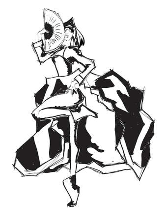 SKETCH  fashion girl  Hand-drawn fashion model Stock Vector - 12880275
